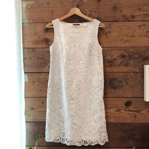 Elie Tahari white lace overlay shift dress